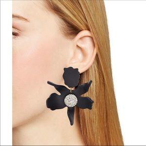 NWT Lele Sadoughi Black lily crystal earrings